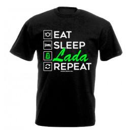 EAT SLEEP LADA férfi póló, fekete