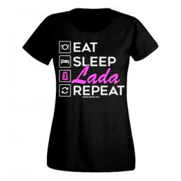 EAT SLEEP LADA női felső, fekete
