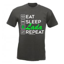 EAT SLEEP LADA férfi póló, grafit