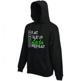 EAT SLEEP LADA kapucnis pulóver, fekete