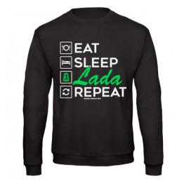 EAT SLEEP LADA pulóver, fekete