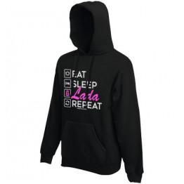 EAT SLEEP LADA kapucnis női pulóver, fekete