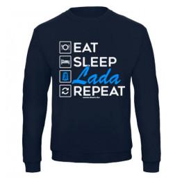 EAT SLEEP LADA pulóver, sötétkék