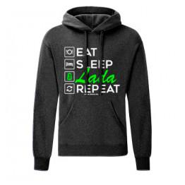 EAT SLEEP LADA kapucnis pulóver, sötétszürke