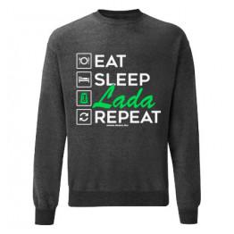 EAT SLEEP LADA pulóver, sötétszürke