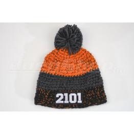 LADA 2101 kötött sapka, fekete-grafit-narancs