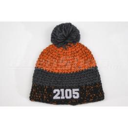 LADA 2105 kötött sapka, fekete-grafit-narancs