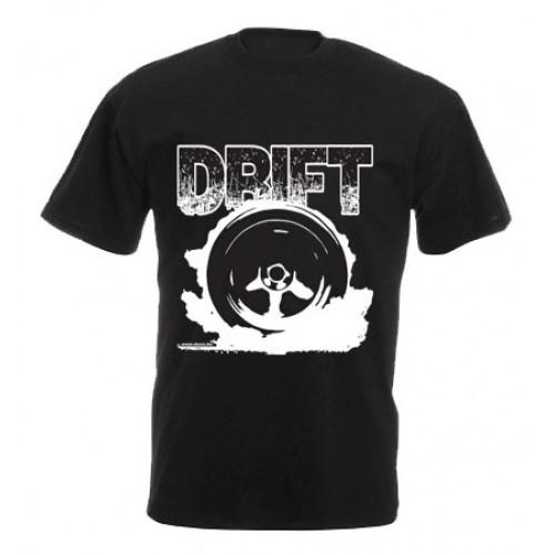 DRIFT kerék férfi póló, fekete