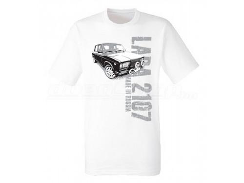MADE IN RUSSIA Lada 2107 férfi póló, fehér