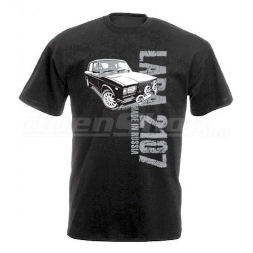 MADE IN RUSSIA Lada 2107 férfi póló, fekete