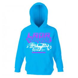 LADA BATTLE gyerek kapucnis pulóver, azúrkék