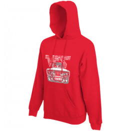 VFTS-01 kapucnis férfi pulóver, piros