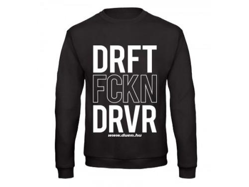 DRIFT FCKN DRIVER férfi pulóver, fekete