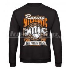 Racing MECHANIC pulóver, fekete