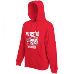 PUSZTÍTÓ kapucnis férfi pulóver, piros