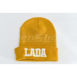 LADA kötött visszahajtott sapka, mustár